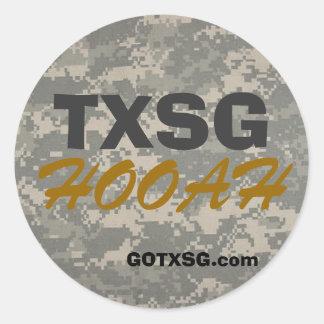 digital camoTXSG, GOTXSG.com, HOOAH round decal Round Stickers