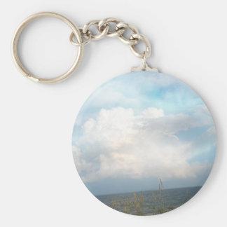 Digital Clouds Keychain Basic Round Button Keychain