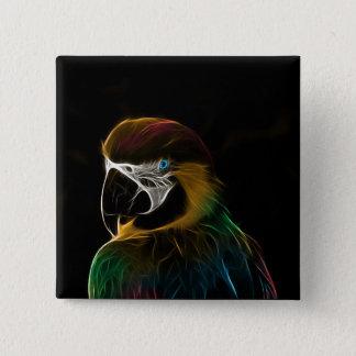 Digital colorful parrot fractal 15 cm square badge