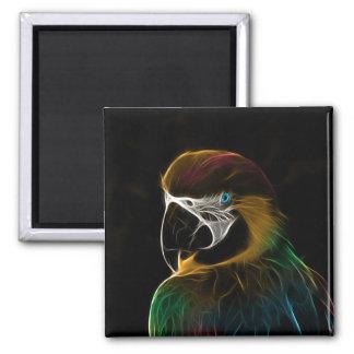 Digital colorful parrot fractal magnet