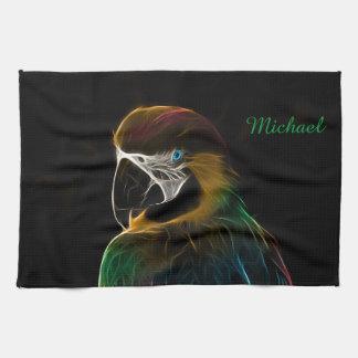 Digital colorful parrot fractal tea towel