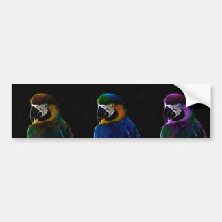 Digital colorful parrots fractals bumper sticker