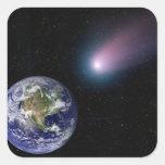 Digital composite of a comet heading towards Ea Square Sticker