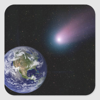 Digital composite of a comet heading towards Ea Square Sticker