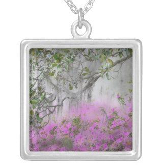 Digital Composite of Azaleas and magnolia tree Square Pendant Necklace