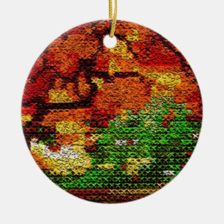 Digital Cross Stitch Round Ceramic Decoration