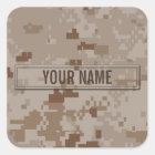 Digital Desert Camouflage Customisable Square Sticker