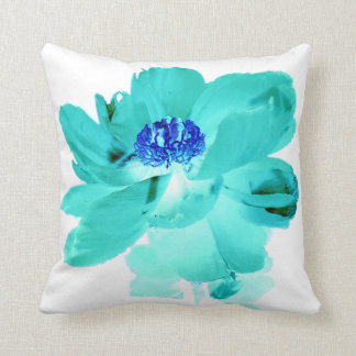 Digital Effect Turquoise Blue Flower Throw Pillow