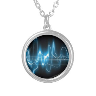 DIGITAL ELECTRIC CURRENT SWIRLS ABSTRACT TIMELINE NECKLACE