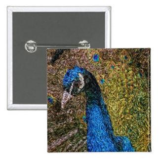 Digital Expressionism: Peacock Plumage 15 Cm Square Badge