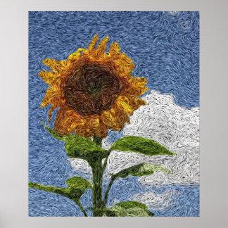 Digital Expressionism: Sunflower [L] Posters