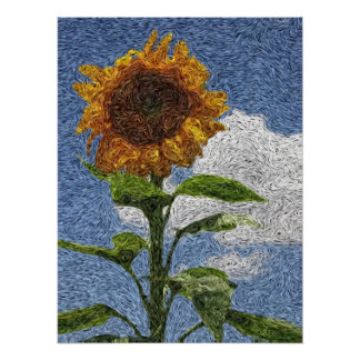 Digital Expressionism: Sunflower [S] Poster