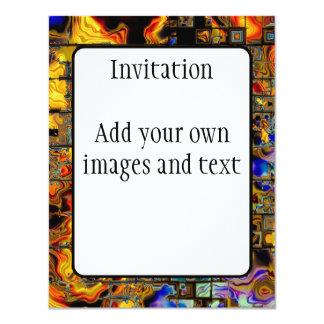 Digital Flames and Metal Matrix 11 Cm X 14 Cm Invitation Card