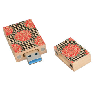 Digital Flower Wood USB 3.0 Flash Drive