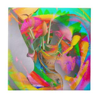 Digital Flower Park - Mixed Media Art! Ceramic Tile