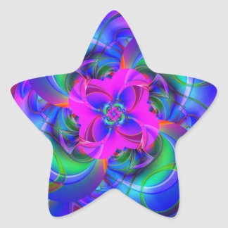Digital Flower pink and blue Star Stickers
