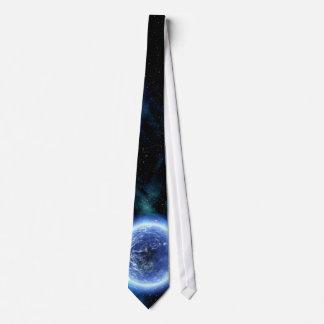Digital Galaxy Alien Planet In Space Blue Nebula Tie