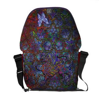 Digital Geometric Art Bag & Leopard & Butterfly Messenger Bag