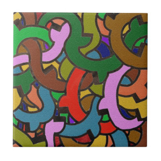 Digital Graffiti of Colorful Pipes Street Style Small Square Tile