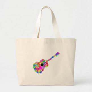 Digital Guitar instruments circle design Large Tote Bag
