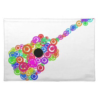 Digital Guitar instruments circle design Placemat