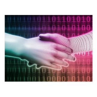 Digital Handshake Between Man and Machine Postcard