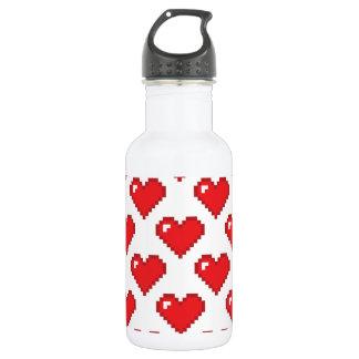 Digital Heart Pattern; Red 532 Ml Water Bottle