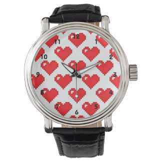 Digital Heart Pattern; Red Watches