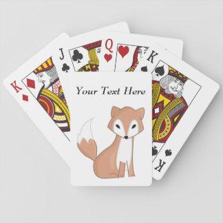 Digital Illustration Of A Cute Fox Playing Cards