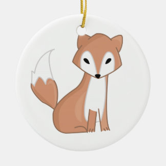 Digital Illustration Of A Cute Fox Round Ceramic Decoration