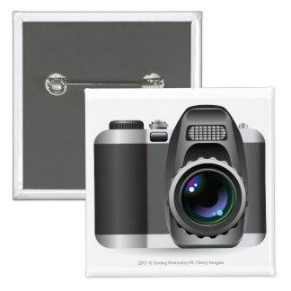 Digital illustration of digital camera 15 cm square badge