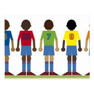 Digital illustration of five football players, postcard