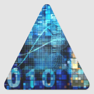 Digital Image Background Binary Code Technology Triangle Sticker