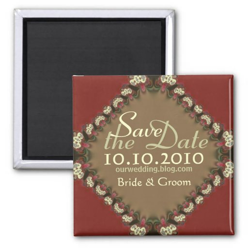 Digital Lace Brocade Save the Date Magnet
