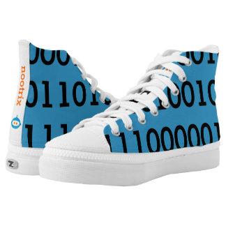 Digital Love High Top Shoes Black Binary Printed Shoes