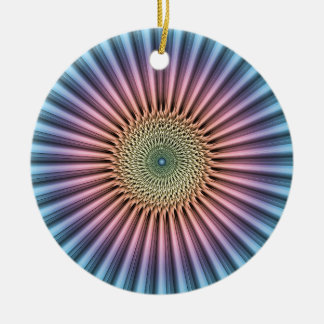Digital Mandala Flower Ceramic Ornament