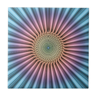 Digital Mandala Flower Ceramic Tile