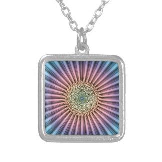 Digital Mandala Flower Silver Plated Necklace
