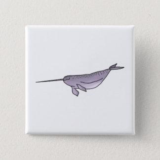 Digital Narwhal Illustration, Sea Animal 15 Cm Square Badge