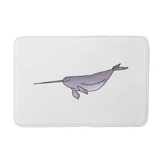 Digital Narwhal Illustration, Sea Animal Bath Mats
