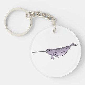 Digital Narwhal Illustration, Sea Animal Key Ring