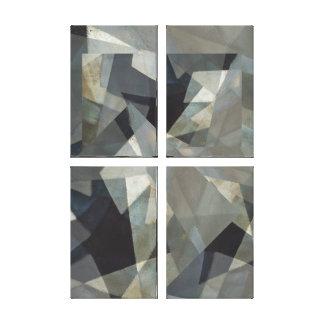 Digital Overlay Neutral #1 Four Panel Abstract Canvas Print