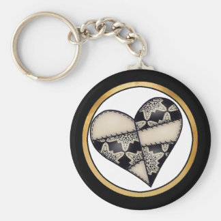 Digital Padded Patchwork - Heart-001 Basic Round Button Key Ring
