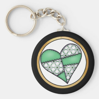 Digital Padded Patchwork - Heart-003 Basic Round Button Key Ring