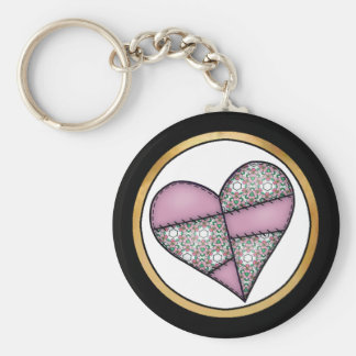 Digital Padded Patchwork - Heart-007 Basic Round Button Key Ring