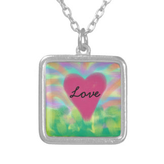 "Digital Painted silver necklace""LOVE"" Square Pendant Necklace"