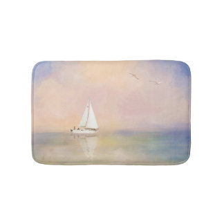 Digital Painting of Sailboat and Seagulls Bath Mat