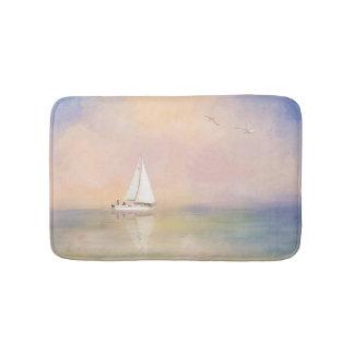 Digital Painting of Sailboat and Seagulls Bath Mats