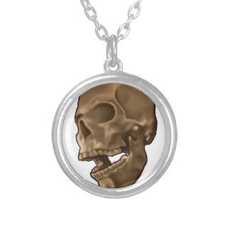 Digital Painting - Skull Round Pendant Necklace