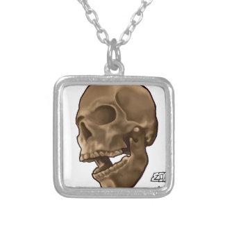 Digital Painting - Skull Square Pendant Necklace